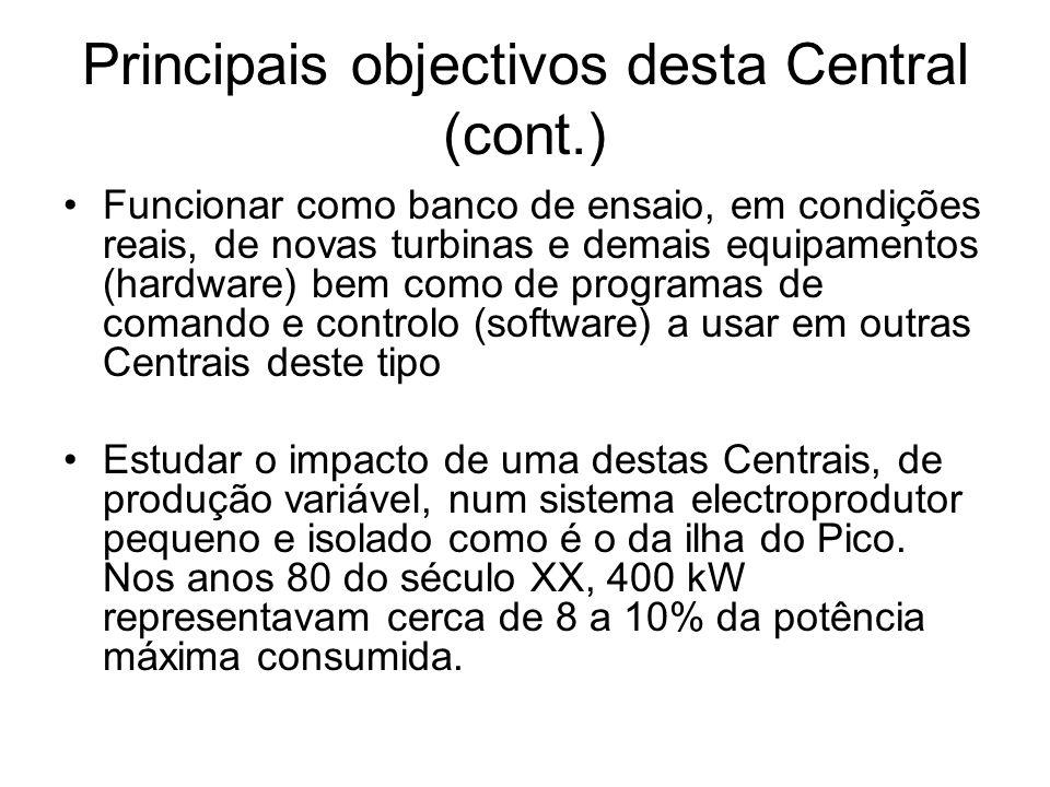 Principais objectivos desta Central (cont.) Funcionar como banco de ensaio, em condições reais, de novas turbinas e demais equipamentos (hardware) bem