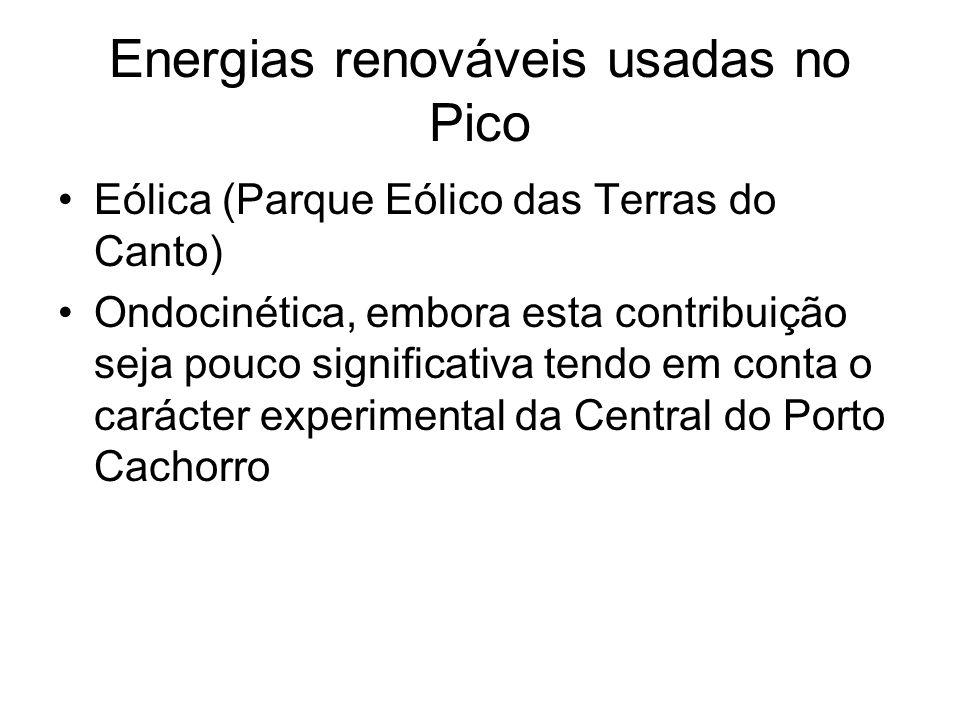 Energias renováveis usadas no Pico Eólica (Parque Eólico das Terras do Canto) Ondocinética, embora esta contribuição seja pouco significativa tendo em