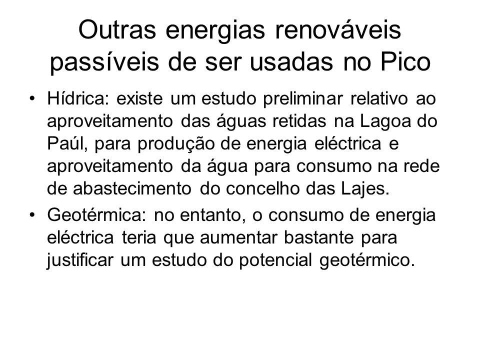 Outras energias renováveis passíveis de ser usadas no Pico Hídrica: existe um estudo preliminar relativo ao aproveitamento das águas retidas na Lagoa