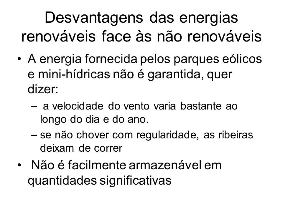 Desvantagens das energias renováveis face às não renováveis A energia fornecida pelos parques eólicos e mini-hídricas não é garantida, quer dizer: – a