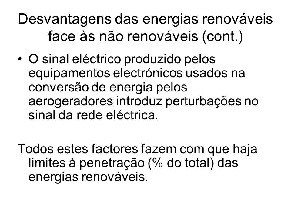 Desvantagens das energias renováveis face às não renováveis (cont.) O sinal eléctrico produzido pelos equipamentos electrónicos usados na conversão de