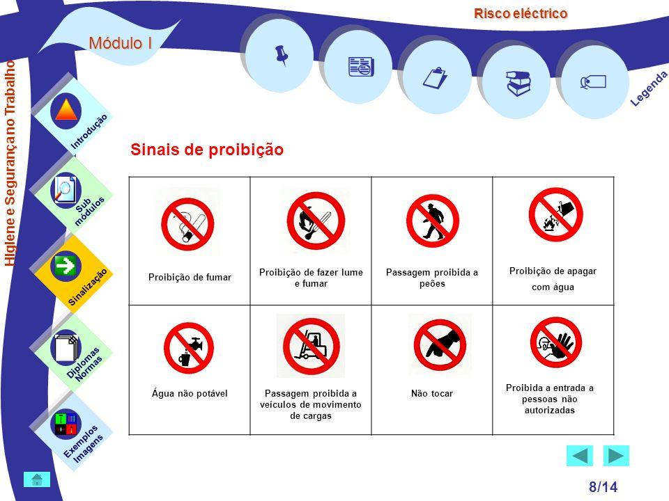Risco eléctrico 8/14 Exemplos Imagens Sub módulos Sinalização Diplomas Normas Introdução Legenda Sinais de proibição Higiene e Segurança no Trabalho P