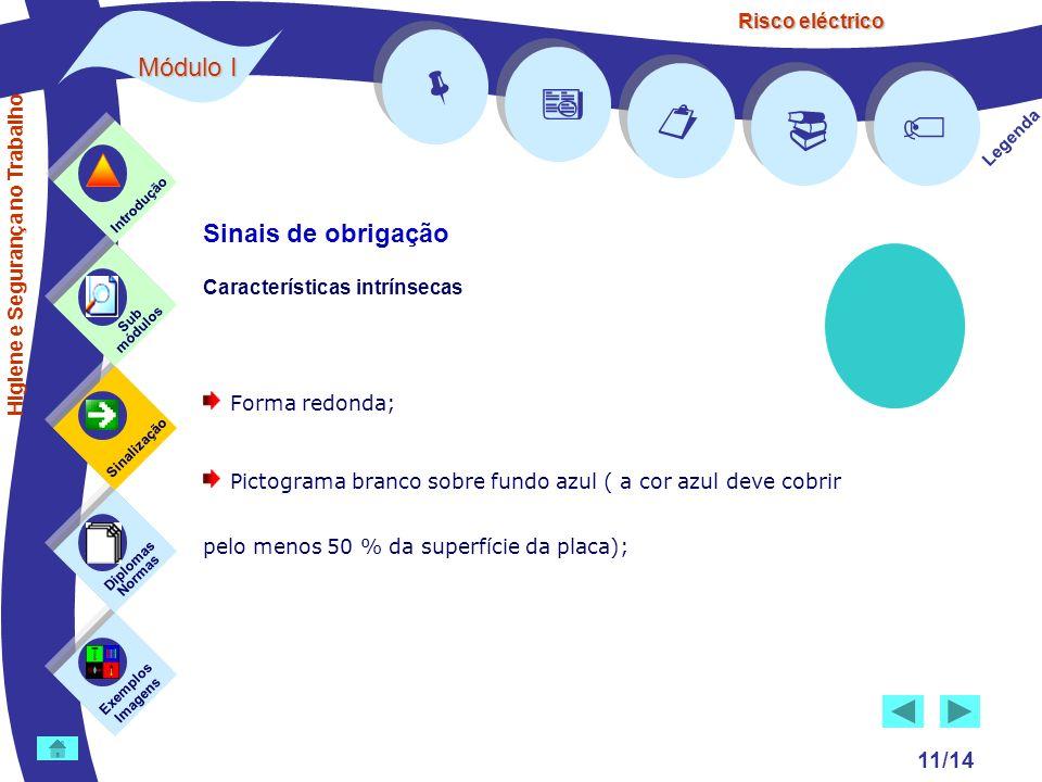 Risco eléctrico 11/14 Legenda Exemplos Imagens Sub módulos Sinalização Diplomas Normas Introdução Higiene e Segurança no Trabalho Sinais de obrigação