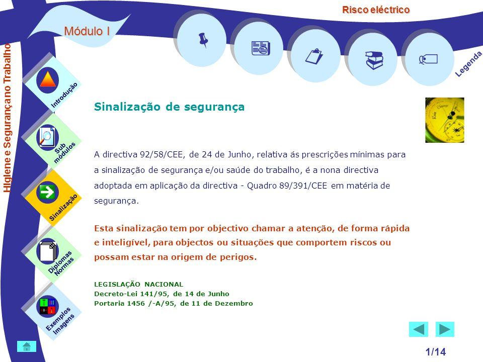 Risco eléctrico 1/14 Sinalização de segurança A directiva 92/58/CEE, de 24 de Junho, relativa ás prescrições mínimas para a sinalização de segurança e