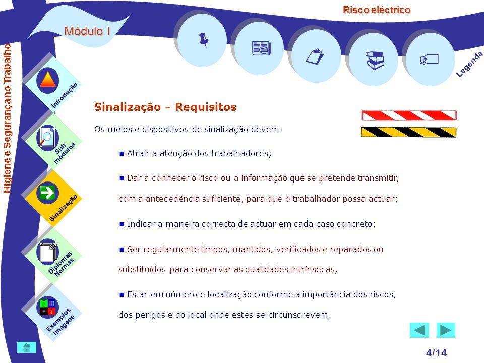 Risco eléctrico 4/14 Sinalização - Requisitos Os meios e dispositivos de sinalização devem: Atrair a atenção dos trabalhadores; Dar a conhecer o risco