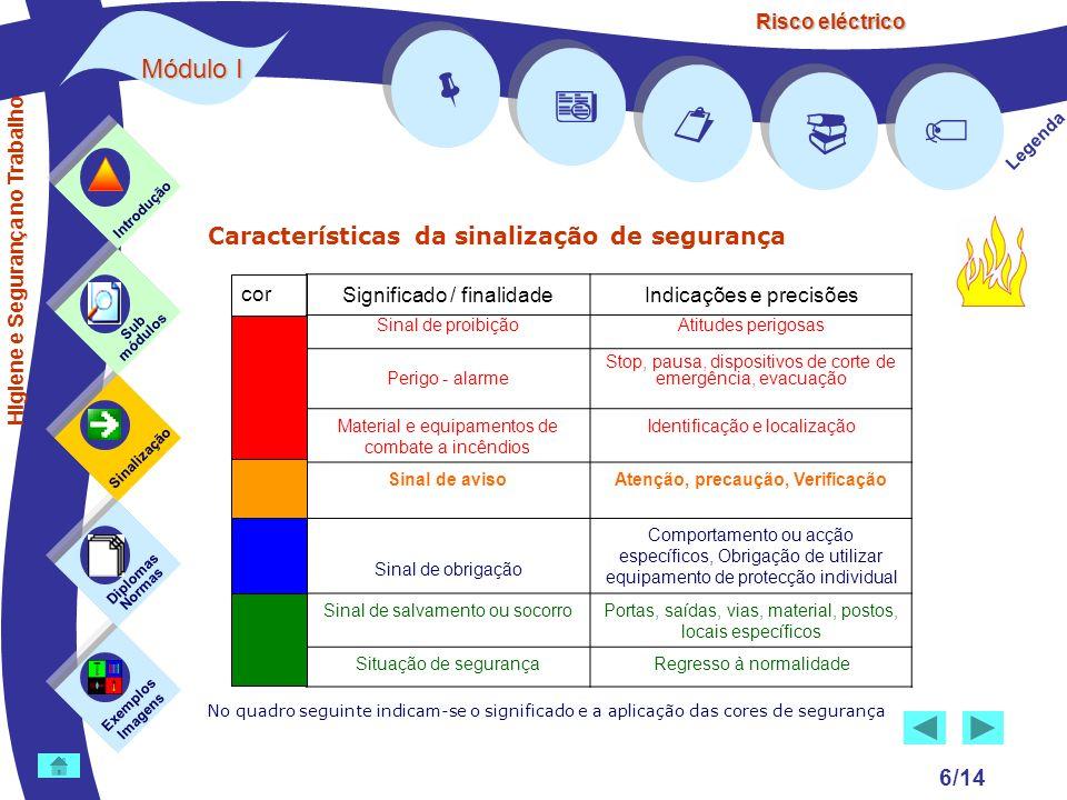 Risco eléctrico 6/14 Características da sinalização de segurança No quadro seguinte indicam-se o significado e a aplicação das cores de segurança Exem
