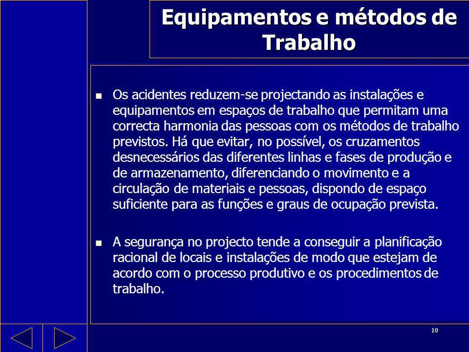 10 Equipamentos e métodos de Trabalho Os acidentes reduzem-se projectando as instalações e equipamentos em espaços de trabalho que permitam uma correc