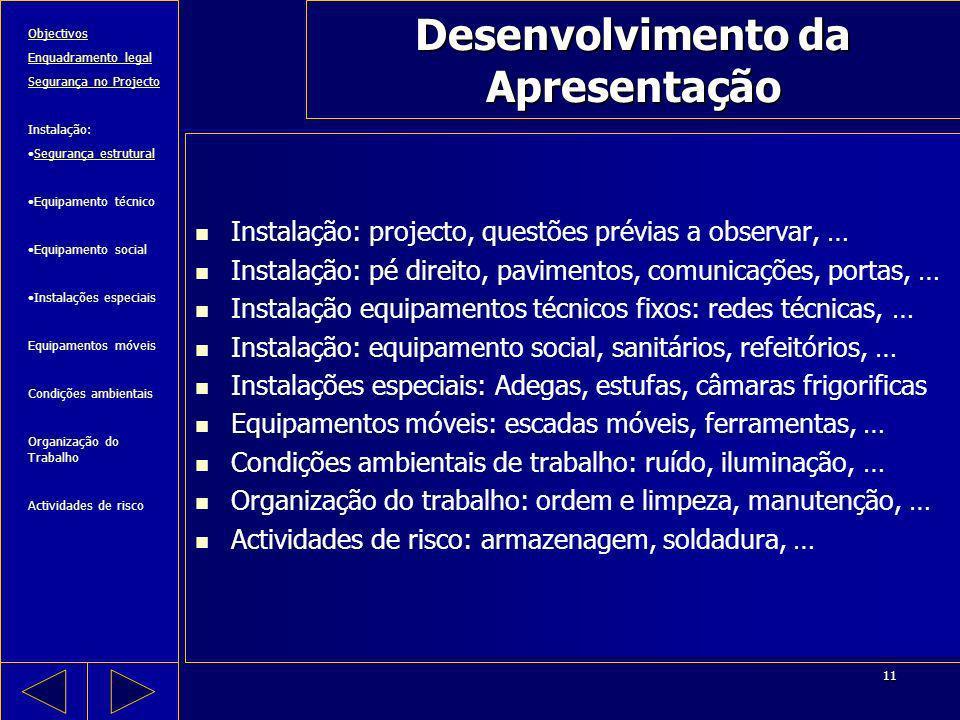 11 Desenvolvimento da Apresentação Instalação: projecto, questões prévias a observar, … Instalação: pé direito, pavimentos, comunicações, portas, … In