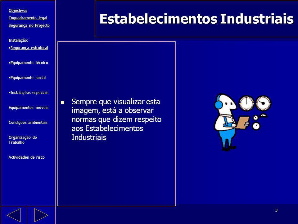 3 Estabelecimentos Industriais Sempre que visualizar esta imagem, está a observar normas que dizem respeito aos Estabelecimentos Industriais Objectivo