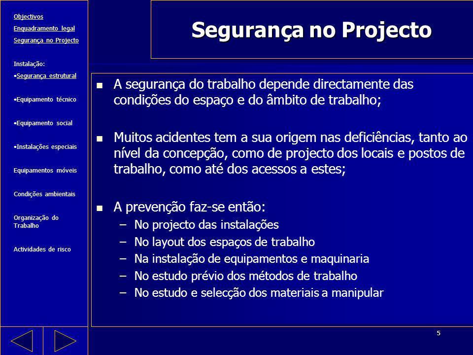 5 Segurança no Projecto A segurança do trabalho depende directamente das condições do espaço e do âmbito de trabalho; Muitos acidentes tem a sua orige