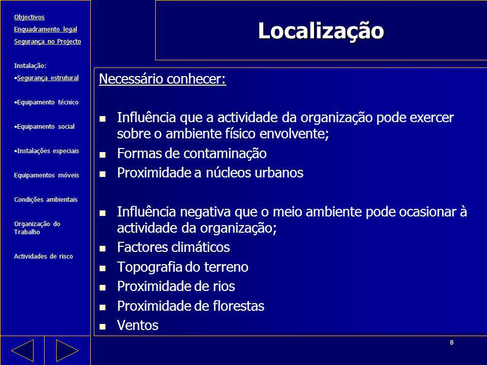 8 Localização Necessário conhecer: Influência que a actividade da organização pode exercer sobre o ambiente físico envolvente; Formas de contaminação