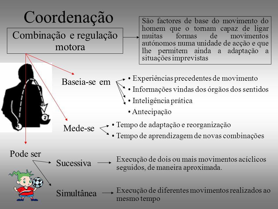 Coordenação Combinação e regulação motora Baseia-se em São factores de base do movimento do homem que o tornam capaz de ligar muitas formas de movimen