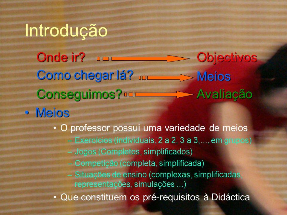 Introdução MeiosMeios O professor possui uma variedade de meios –Exercícios (individuais, 2 a 2, 3 a 3,..., em grupos) –Jogos (Completos, simplificado