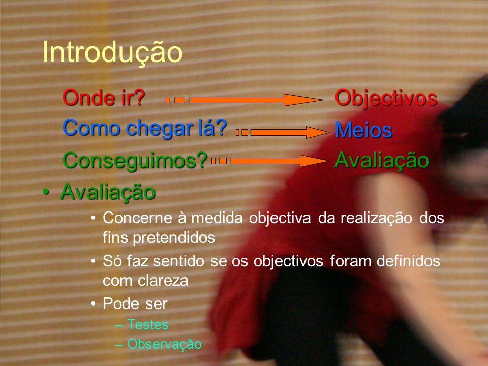 Introdução AvaliaçãoAvaliação Concerne à medida objectiva da realização dos fins pretendidos Só faz sentido se os objectivos foram definidos com clare
