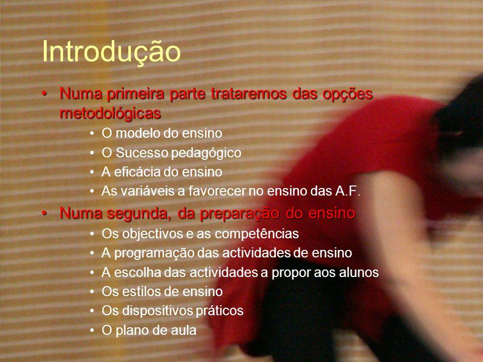 Introdução E numa terceira, da acção na aulaE numa terceira, da acção na aula A apresentação das actividades As reacções à prestação As funções de organização A conduta da classe E os princípios de intervenção
