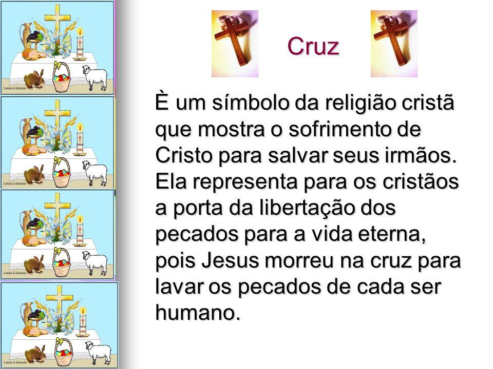Cruz Cruz È um símbolo da religião cristã que mostra o sofrimento de Cristo para salvar seus irmãos. Ela representa para os cristãos a porta da libert