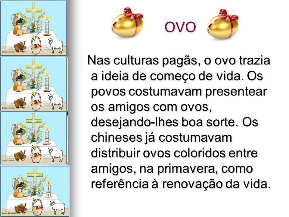 OVO OVO Nas culturas pagãs, o ovo trazia a ideia de começo de vida. Os povos costumavam presentear os amigos com ovos, desejando-lhes boa sorte. Os ch