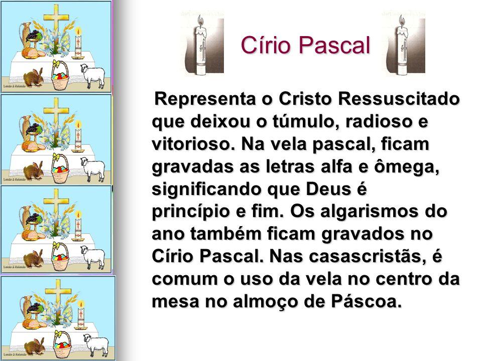 Círio Pascal Círio Pascal Representa o Cristo Ressuscitado que deixou o túmulo, radioso e vitorioso. Na vela pascal, ficam gravadas as letras alfa e ô