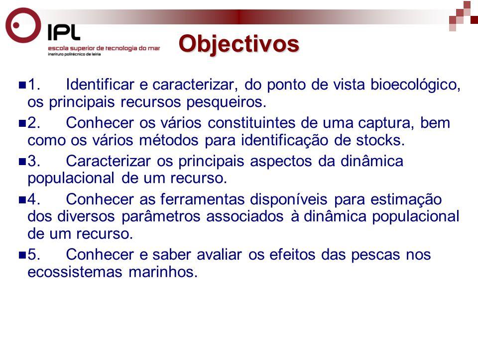 1.Identificar e caracterizar, do ponto de vista bioecológico, os principais recursos pesqueiros.