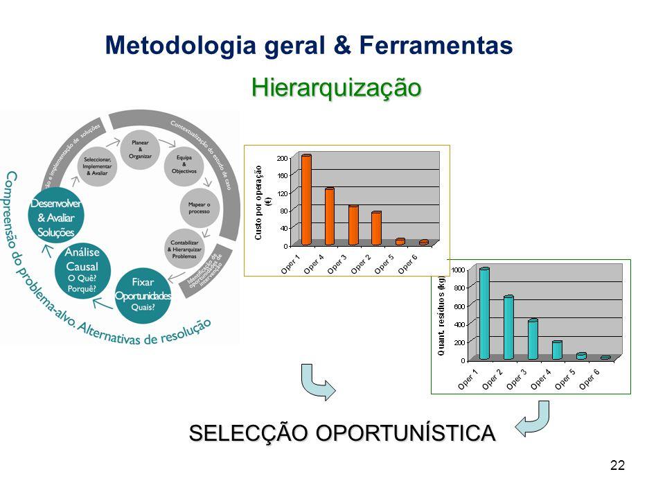 Metodologia geral & Ferramentas 22 SELECÇÃO OPORTUNÍSTICA Hierarquização