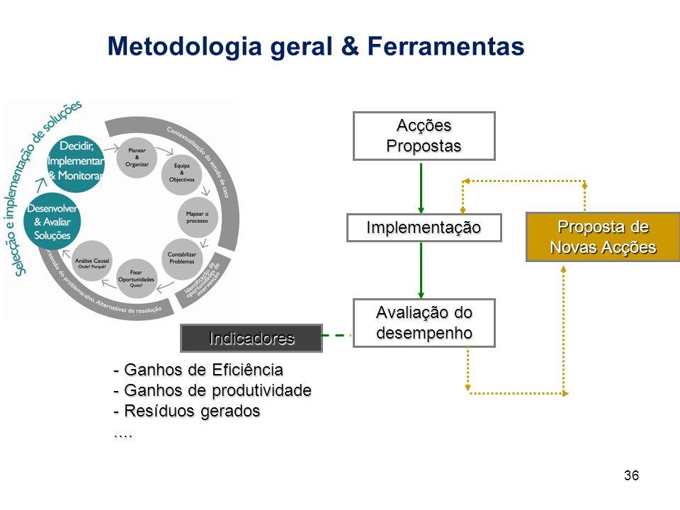 Metodologia geral & Ferramentas 36 Acções Propostas Implementação Avaliação do desempenho Indicadores - Ganhos de Eficiência - Ganhos de produtividade