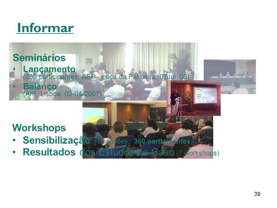 39 Informar Seminários Lançamento (250 participantes; AEP - Leça da Palmeira, 07Jul 05) Balanço (AIP, Lisboa, 02-04-2007) Workshops Sensibilização (10