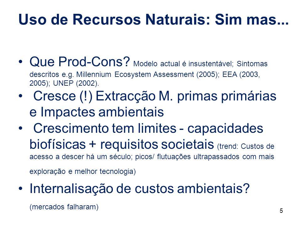 Uso de Recursos Naturais: Sim mas... Que Prod-Cons? Modelo actual é insustentável; Sintomas descritos e.g. Millennium Ecosystem Assessment (2005); EEA