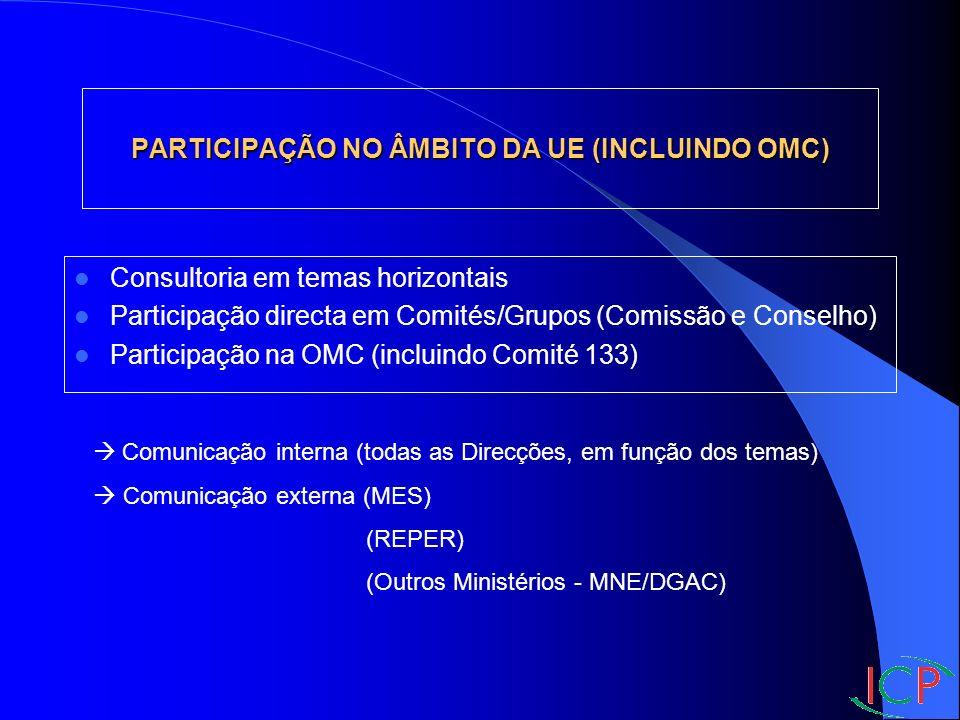 PARTICIPAÇÃO NO ÂMBITO DA UE (INCLUINDO OMC) Consultoria em temas horizontais Participação directa em Comités/Grupos (Comissão e Conselho) Participação na OMC (incluindo Comité 133) Comunicação interna (todas as Direcções, em função dos temas) Comunicação externa (MES) (REPER) (Outros Ministérios - MNE/DGAC)
