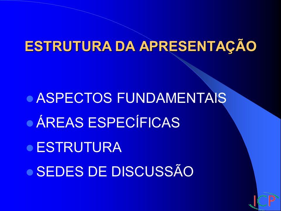 ASPECTOS FUNDAMENTAIS ÁREAS ESPECÍFICAS ESTRUTURA SEDES DE DISCUSSÃO ESTRUTURA DA APRESENTAÇÃO