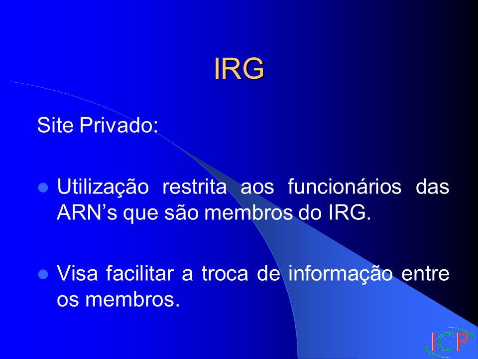 IRG Site Privado: Utilização restrita aos funcionários das ARNs que são membros do IRG.