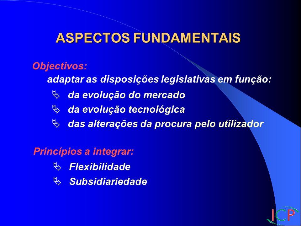 Objectivos: adaptar as disposições legislativas em função: da evolução do mercado da evolução tecnológica das alterações da procura pelo utilizador Princípios a integrar: Flexibilidade Subsidiariedade ASPECTOS FUNDAMENTAIS