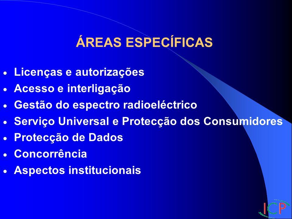 Licenças e autorizações Acesso e interligação Gestão do espectro radioeléctrico Serviço Universal e Protecção dos Consumidores Protecção de Dados Concorrência Aspectos institucionais ÁREAS ESPECÍFICAS