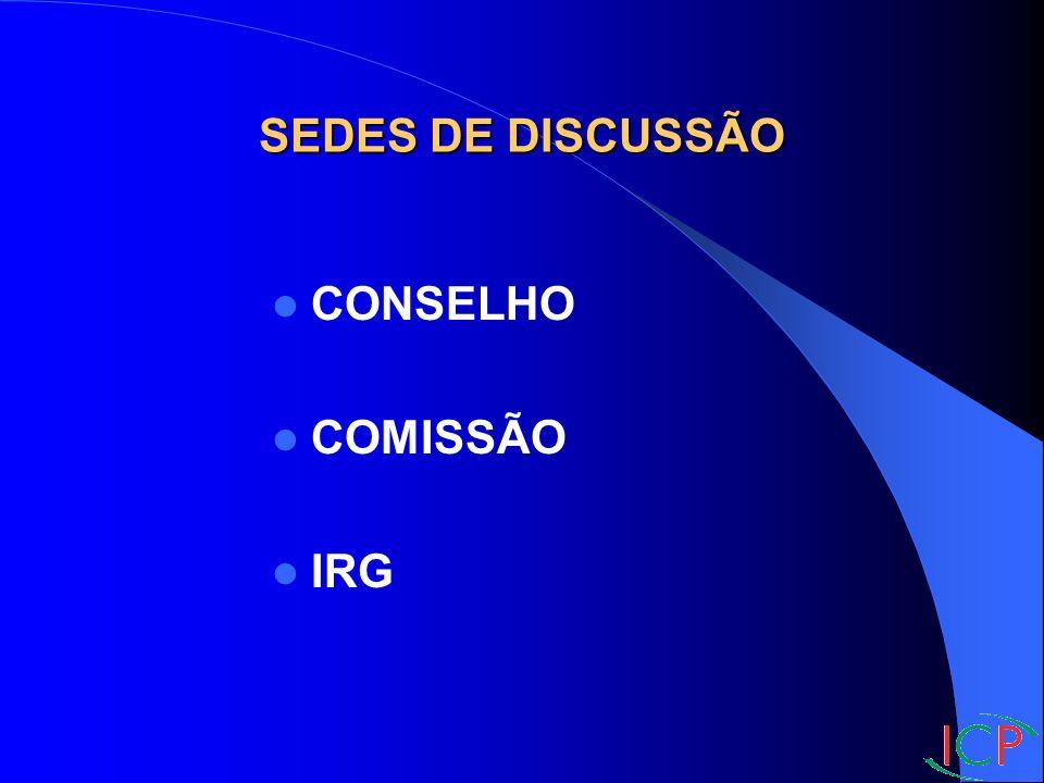 SEDES DE DISCUSSÃO CONSELHO COMISSÃO IRG