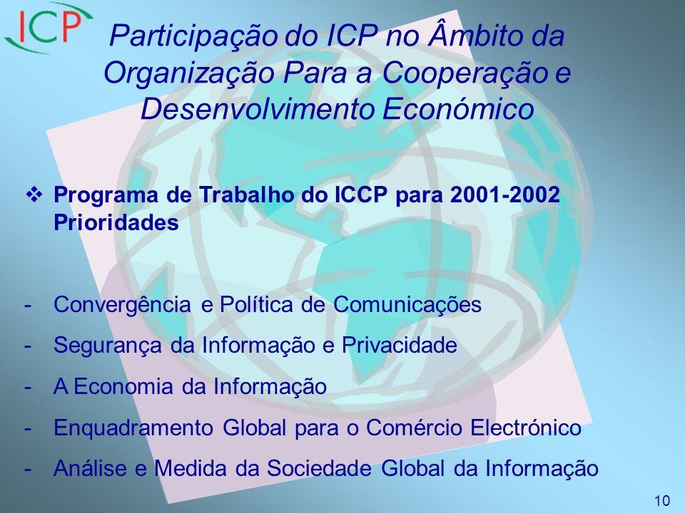 Participação do ICP no Âmbito da Organização Para a Cooperação e Desenvolvimento Económico Programa de Trabalho do ICCP para 2001-2002 Prioridades -Convergência e Política de Comunicações -Segurança da Informação e Privacidade -A Economia da Informação -Enquadramento Global para o Comércio Electrónico -Análise e Medida da Sociedade Global da Informação 10