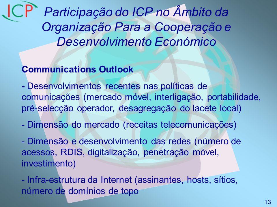 Participação do ICP no Âmbito da Organização Para a Cooperação e Desenvolvimento Económico Communications Outlook - Desenvolvimentos recentes nas políticas de comunicações (mercado móvel, interligação, portabilidade, pré-selecção operador, desagregação do lacete local) - Dimensão do mercado (receitas telecomunicações) - Dimensão e desenvolvimento das redes (número de acessos, RDIS, digitalização, penetração móvel, investimento) - Infra-estrutura da Internet (assinantes, hosts, sítios, número de domínios de topo 13