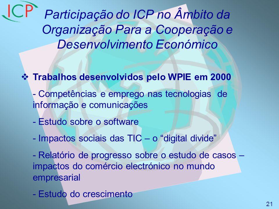 Participação do ICP no Âmbito da Organização Para a Cooperação e Desenvolvimento Económico Trabalhos desenvolvidos pelo WPIE em 2000 - Competências e emprego nas tecnologias de informação e comunicações - Estudo sobre o software - Impactos sociais das TIC – o digital divide - Relatório de progresso sobre o estudo de casos – impactos do comércio electrónico no mundo empresarial - Estudo do crescimento 21