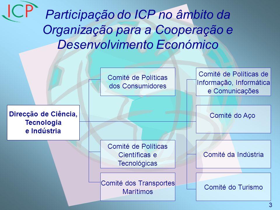 Participação do ICP no âmbito da Organização para a Cooperação e Desenvolvimento Económico Mandato do Comité das Políticas de Informação, Informática e Telecomunicações (ICCP) Análise dos aspectos políticos resultantes do desenvolvimento e aplicação das tecnologias e serviços na área da informação, informática e comunicações, tais como o comércio electrónico e os assuntos relativos à infra-estrutura da informação, incluindo o respectivo impacto na economia e sociedade em geral e no fortalecimento da cooperação entre Estados membros e entre Estados membros e não membros.