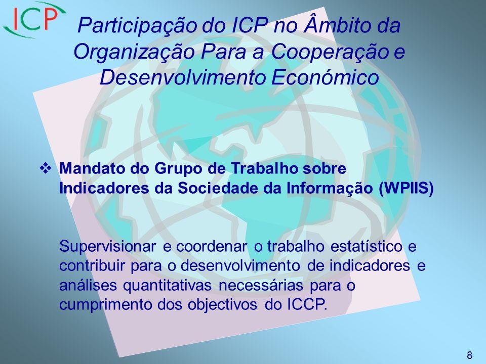 Participação do ICP no Âmbito da Organização Para a Cooperação e Desenvolvimento Económico Mandato do Grupo de Trabalho sobre Indicadores da Sociedade da Informação (WPIIS) Supervisionar e coordenar o trabalho estatístico e contribuir para o desenvolvimento de indicadores e análises quantitativas necessárias para o cumprimento dos objectivos do ICCP.