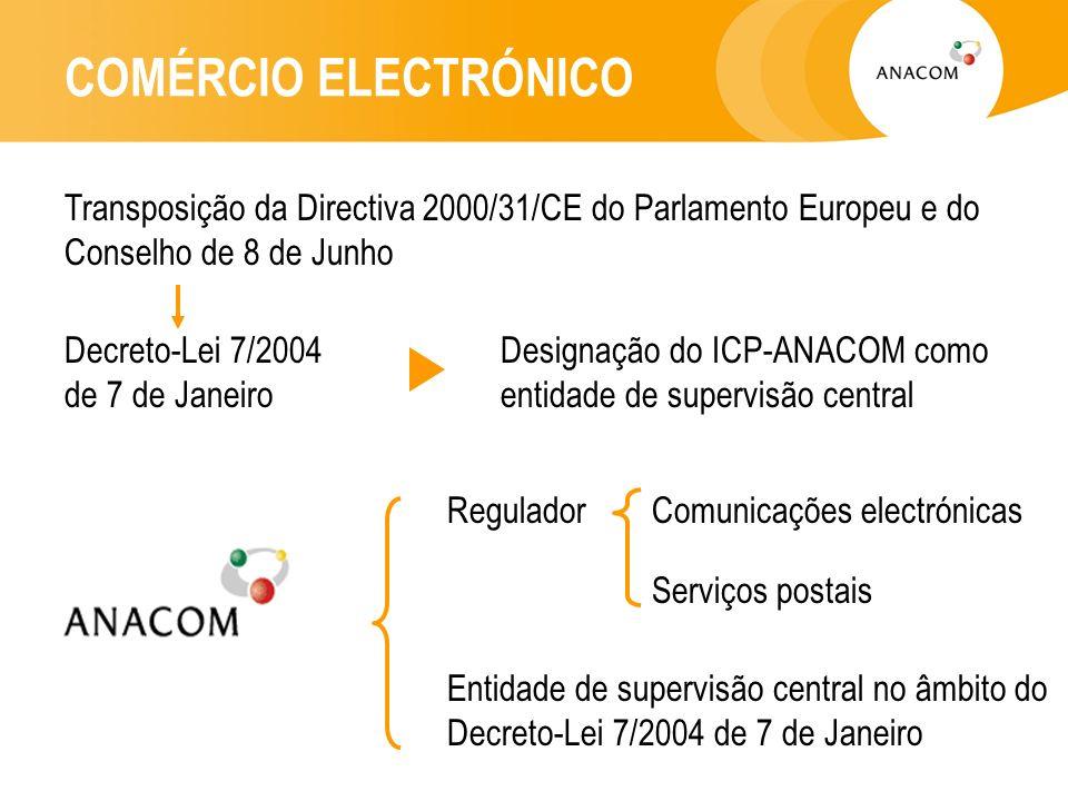 COMÉRCIO ELECTRÓNICO Transposição da Directiva 2000/31/CE do Parlamento Europeu e do Conselho de 8 de Junho Decreto-Lei 7/2004 de 7 de Janeiro Designação do ICP-ANACOM como entidade de supervisão central Regulador Entidade de supervisão central no âmbito do Decreto-Lei 7/2004 de 7 de Janeiro Comunicações electrónicas Serviços postais