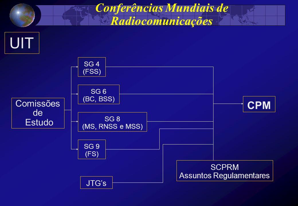 UIT Comissões de Estudo SG 4 (FSS) SG 6 (BC, BSS) SG 8 (MS, RNSS e MSS) SG 9 (FS) JTGs CPM SCPRM Assuntos Regulamentares Conferências Mundiais de Radi