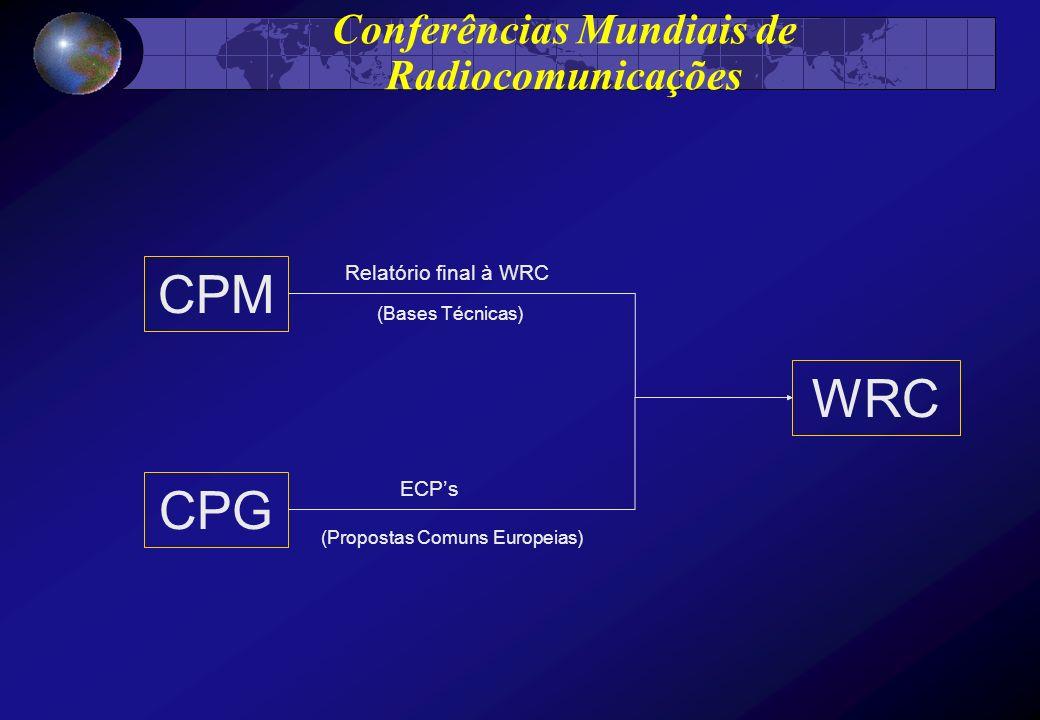 Conferências Mundiais de Radiocomunicações CPM CPG WRC Relatório final à WRC (Bases Técnicas) ECPs (Propostas Comuns Europeias)