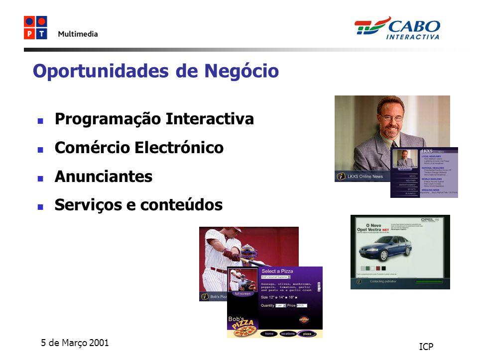 5 de Março 2001 ICP Oportunidades de Negócio Programação Interactiva Comércio Electrónico Anunciantes Serviços e conteúdos