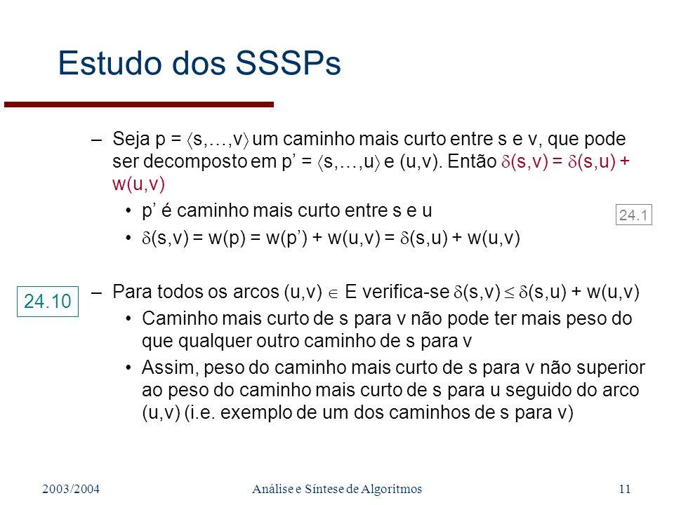 2003/2004Análise e Síntese de Algoritmos11 Estudo dos SSSPs –Seja p = s,…,v um caminho mais curto entre s e v, que pode ser decomposto em p = s,…,u e (u,v).