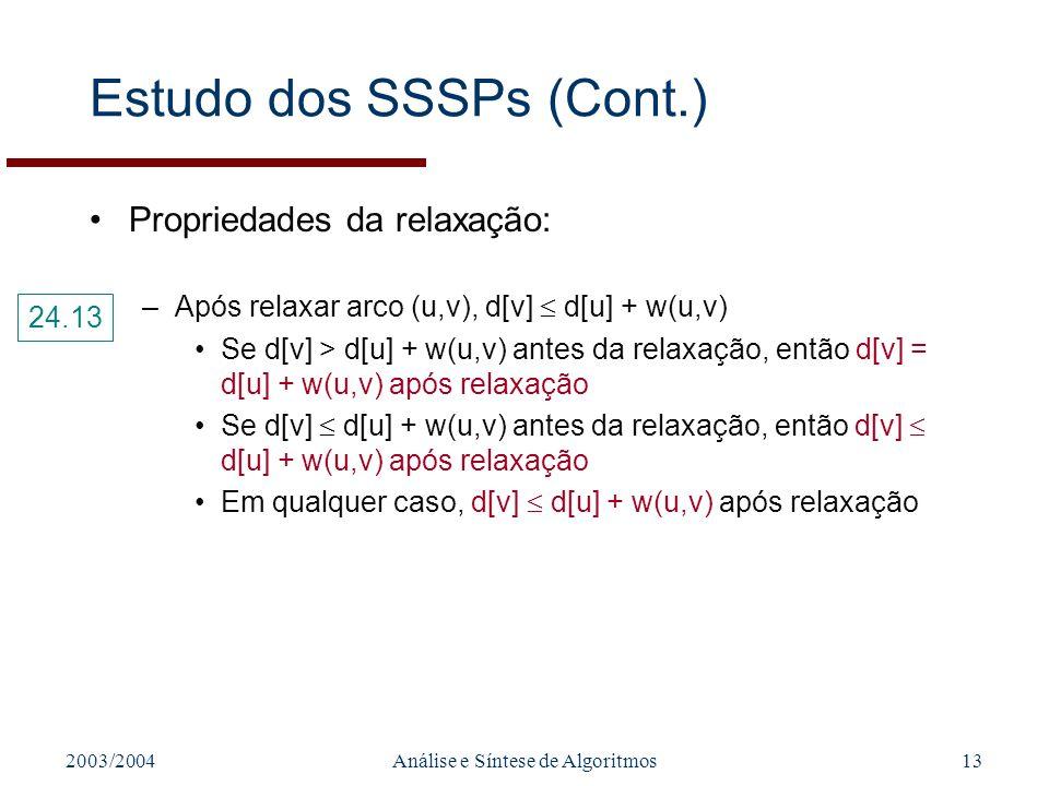 2003/2004Análise e Síntese de Algoritmos13 Estudo dos SSSPs (Cont.) Propriedades da relaxação: –Após relaxar arco (u,v), d[v] d[u] + w(u,v) Se d[v] > d[u] + w(u,v) antes da relaxação, então d[v] = d[u] + w(u,v) após relaxação Se d[v] d[u] + w(u,v) antes da relaxação, então d[v] d[u] + w(u,v) após relaxação Em qualquer caso, d[v] d[u] + w(u,v) após relaxação 24.13