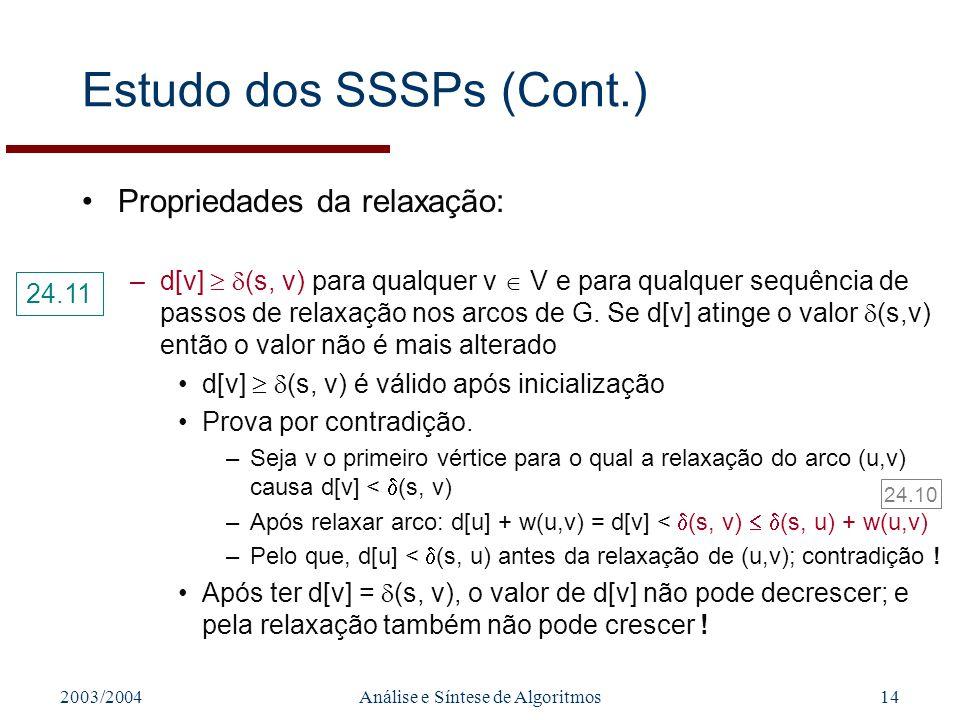 2003/2004Análise e Síntese de Algoritmos14 Estudo dos SSSPs (Cont.) Propriedades da relaxação: –d[v] (s, v) para qualquer v V e para qualquer sequência de passos de relaxação nos arcos de G.