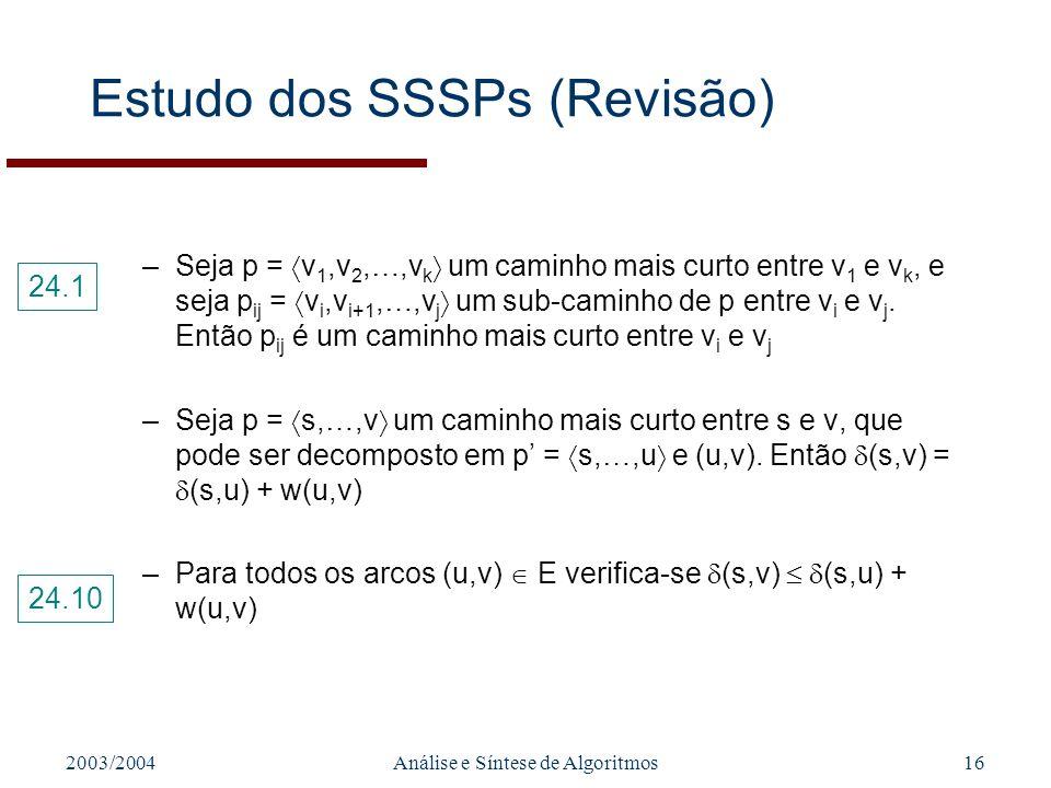 2003/2004Análise e Síntese de Algoritmos16 Estudo dos SSSPs (Revisão) –Seja p = v 1,v 2,…,v k um caminho mais curto entre v 1 e v k, e seja p ij = v i,v i+1,…,v j um sub-caminho de p entre v i e v j.