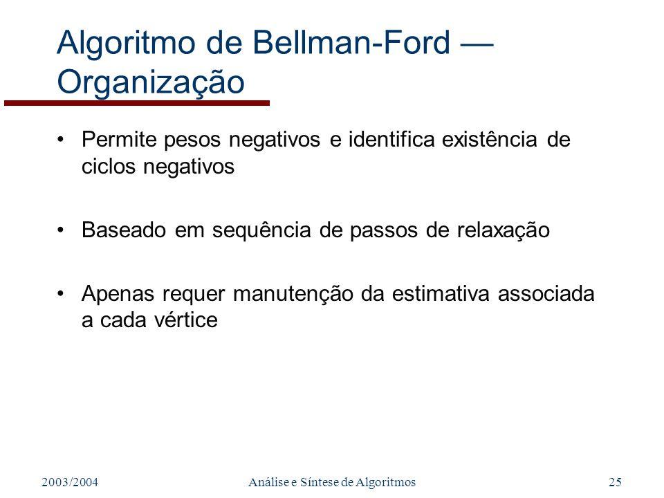 2003/2004Análise e Síntese de Algoritmos25 Algoritmo de Bellman-Ford Organização Permite pesos negativos e identifica existência de ciclos negativos Baseado em sequência de passos de relaxação Apenas requer manutenção da estimativa associada a cada vértice