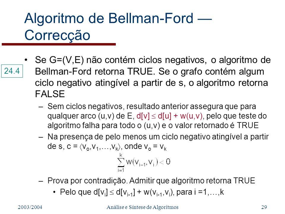 2003/2004Análise e Síntese de Algoritmos29 Algoritmo de Bellman-Ford Correcção Se G=(V,E) não contém ciclos negativos, o algoritmo de Bellman-Ford retorna TRUE.