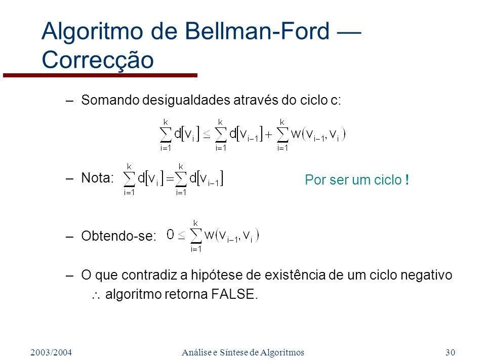2003/2004Análise e Síntese de Algoritmos30 Algoritmo de Bellman-Ford Correcção –Somando desigualdades através do ciclo c: –Nota: –Obtendo-se: –O que contradiz a hipótese de existência de um ciclo negativo algoritmo retorna FALSE.