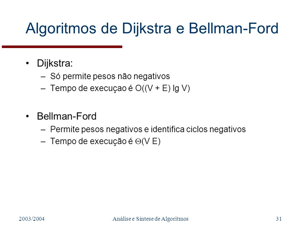 2003/2004Análise e Síntese de Algoritmos31 Algoritmos de Dijkstra e Bellman-Ford Dijkstra: –Só permite pesos não negativos –Tempo de execuçao é O((V + E) lg V) Bellman-Ford –Permite pesos negativos e identifica ciclos negativos –Tempo de execução é (V E)